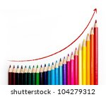 Set of color pencil showing a chart - stock photo