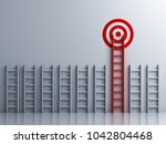 long red ladder to goal target .... | Shutterstock . vector #1042804468