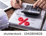 close up of red percentage... | Shutterstock . vector #1042804828