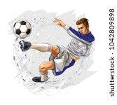 soccer player kicks the ball | Shutterstock .eps vector #1042809898