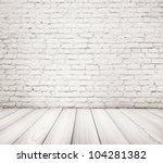 painted brick wall and floor - stock photo