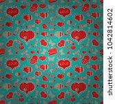 love repeated backdrop for girl ... | Shutterstock .eps vector #1042814602