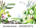 raster watercolor cute... | Shutterstock . vector #1042823572