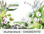 raster watercolor cute... | Shutterstock . vector #1042823572