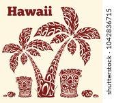 hawaiian illustration with palm ... | Shutterstock .eps vector #1042836715