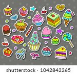vector set with bake and sweets.... | Shutterstock .eps vector #1042842265