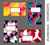 set of fruit tags and lables.... | Shutterstock .eps vector #1042842376