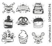 black isolated vintage bakery... | Shutterstock . vector #1042845196