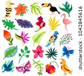tropical exotic set of twenty... | Shutterstock . vector #1042845616