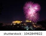 fireworks explode over the... | Shutterstock . vector #1042849822
