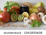 fruits  vegetables and mug of...