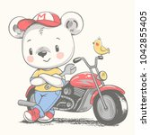 cute bear near the motorcycle... | Shutterstock .eps vector #1042855405