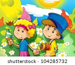 happy cartoon pair togehter on... | Shutterstock . vector #104285732
