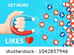 get more likes. hand hold... | Shutterstock .eps vector #1042857946