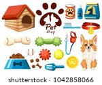 Stock vector set of pet shop icons accessories for dogs flat vector illustration feed toys balls collar 1042858066