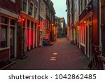 red light district in amsterdam ... | Shutterstock . vector #1042862485
