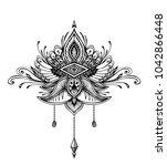 abstract zen tangle zendoodle ... | Shutterstock .eps vector #1042866448