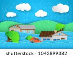 natural flood icon  rain and... | Shutterstock .eps vector #1042899382