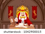 king of hearts judge with gavel ... | Shutterstock .eps vector #1042900015