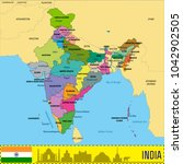 political detailed map of india ... | Shutterstock .eps vector #1042902505
