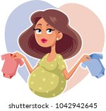 mother holding baby onesies... | Shutterstock .eps vector #1042942645