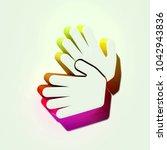 white sign language icon. 3d...
