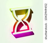 white hourglass icon. 3d... | Shutterstock . vector #1042949452