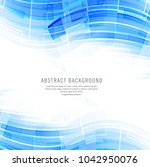 modern blue technology wave... | Shutterstock .eps vector #1042950076