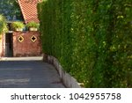 curved hedges in fancy garden | Shutterstock . vector #1042955758