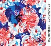 vector seamless spring floral... | Shutterstock .eps vector #1042964128