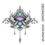 abstract zen tangle  symbol in... | Shutterstock .eps vector #1042965382