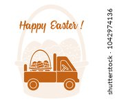 easter symbols. truck carrying... | Shutterstock .eps vector #1042974136