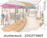 shopping mall graphic color... | Shutterstock .eps vector #1042974805
