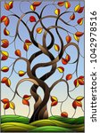 illustration in stained glass... | Shutterstock .eps vector #1042978516