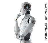 3d rendering humanoid robot...   Shutterstock . vector #1042982596