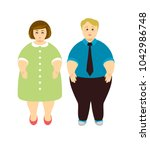 overweight people. man and woman   Shutterstock .eps vector #1042986748