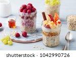 overnight oats  bircher muesli... | Shutterstock . vector #1042990726