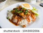 barbecue pork and roasted pork... | Shutterstock . vector #1043002006