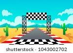 racing track. landscape. desert.... | Shutterstock .eps vector #1043002702