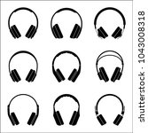 set of headphone icons for... | Shutterstock .eps vector #1043008318