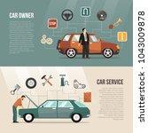 flat horizontal auto banners... | Shutterstock . vector #1043009878