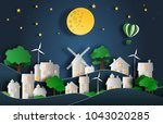 paper art style of landscape at ... | Shutterstock .eps vector #1043020285