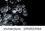 3d molecules or atoms on black... | Shutterstock . vector #1043023366
