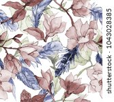 wildflower magnolia flower... | Shutterstock . vector #1043028385