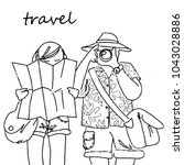 a guy and a girl are traveling | Shutterstock . vector #1043028886