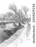 snowy winter shore of the river ...   Shutterstock . vector #1043029156