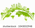 ecology concept with green city ... | Shutterstock .eps vector #1043032948