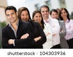 business team in a row at the... | Shutterstock . vector #104303936