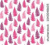 fern frond herbs  tropical... | Shutterstock .eps vector #1043048605