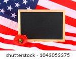 Chalkboard On American Flag An...
